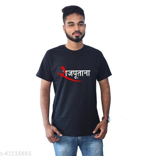 RS Print Rajputana Printed Man's Black Tshirts