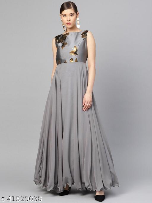 Womens Grey Georgette Stitched Anarkali Maxi Gown Dress