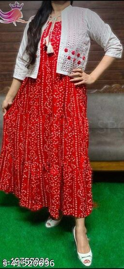 Varsha Fab Checkout of Latest Women's Beautiful Schifli Pompom Work Jacket with 100% Rayon Kurta Set