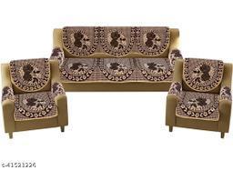 Kashvi Aashvi Presents Exclusive Royal Look Velvet Sofa Cover Set with Heavy Fabric 500 TC Floral Design 5 Seater Sofa Cover -| Set of 16 Piece |