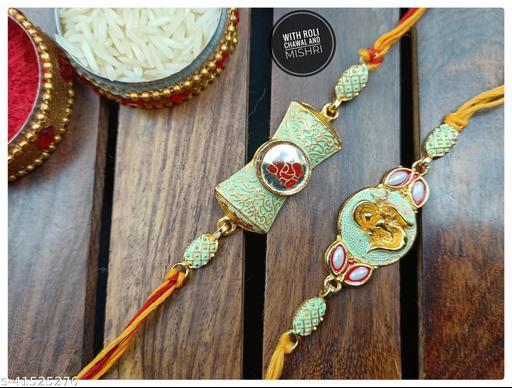 Stylish and Modern Antique Bhai Rakhi Combo (Pack of 2 Rakhi)