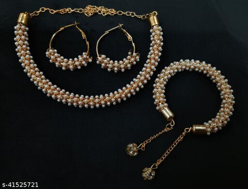 Combo Set Gold Plate AD Stones Studded Necklace Set and Earrings with Bracelet for Women and Girls