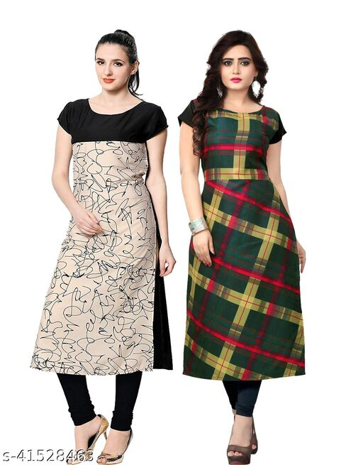 Designer Degital Printed Crepe Fabric Kurtis With Combo Collacation for Girl's and Women's