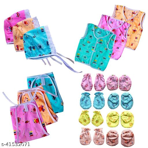 Bigbought Born Baby Cloth Set With Cap, Zhabla and Nappy (Langot), Hand Mittens (4 Pair) and Leg Booties (4 Pair) (Multicolor)