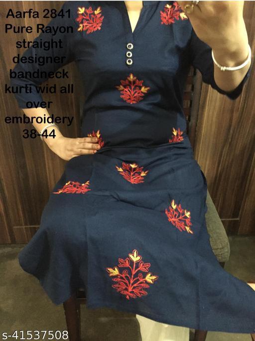 Embroidered blue Rayon kurti