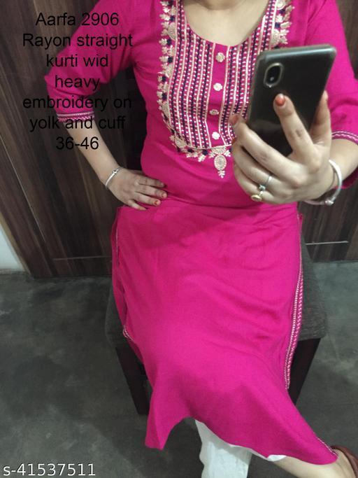 Embroidered pink Rayon kurti