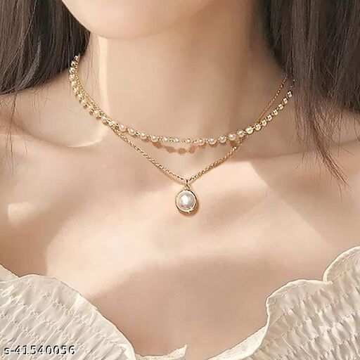 Charming Gold Plated Pearl Double Layered Necklace for Women and Girls