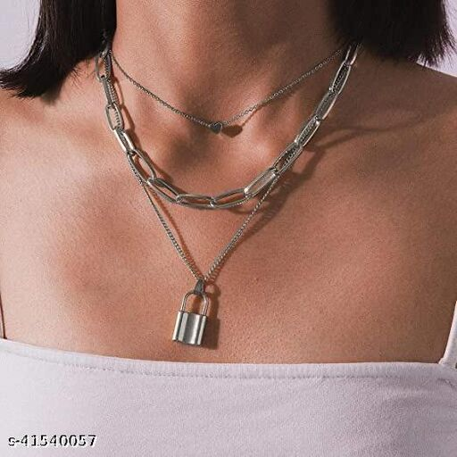 Gorgeous Silver Triple Layered Heart and Lock Necklace for Women and Girls