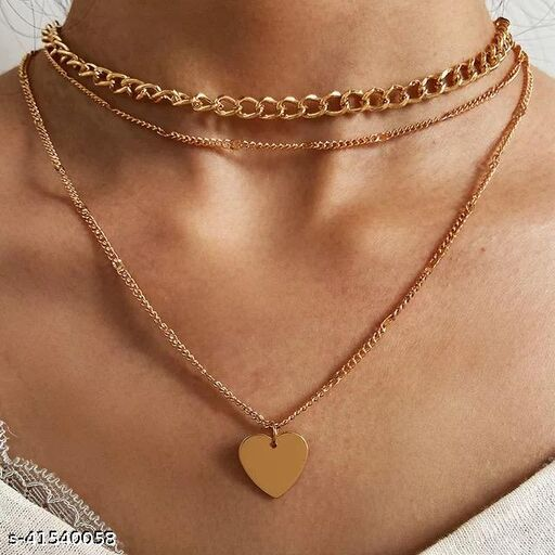 Gorgeous Gold Plated Triple Layered Heart Necklace for Women and Girls