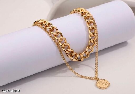 Charming Gold Plated Double Layered Vintage Coin Necklace for Women and Girls