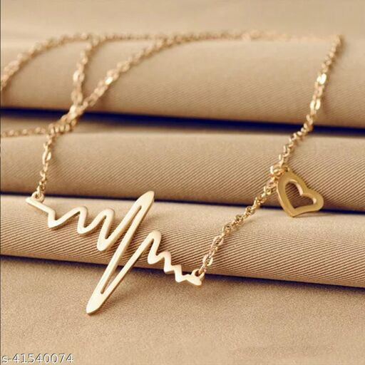 Gorgeous Gold Plated Heartbeat Necklace for Women and Girls