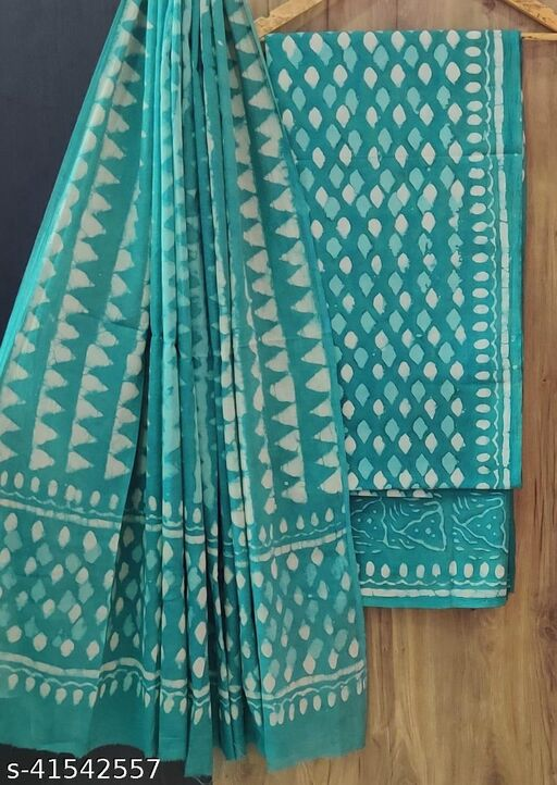 Hand Block Printed Cotton Suit Material with Cotton Mulmul Dupatta