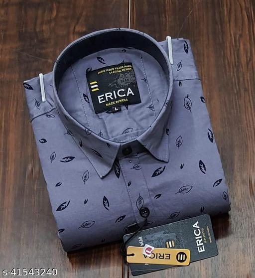 Trendy Premium Cotton Men's Full Sleeve Casual Printed Shirt - PURPLE