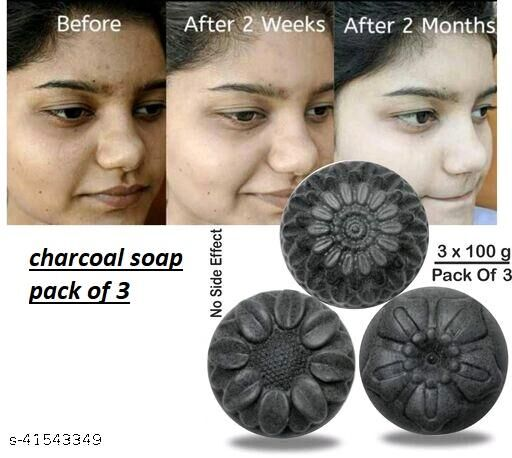 ACTIVATED CHARCOAL Natural Hand Made Soap - 100gm (Pack of 3)