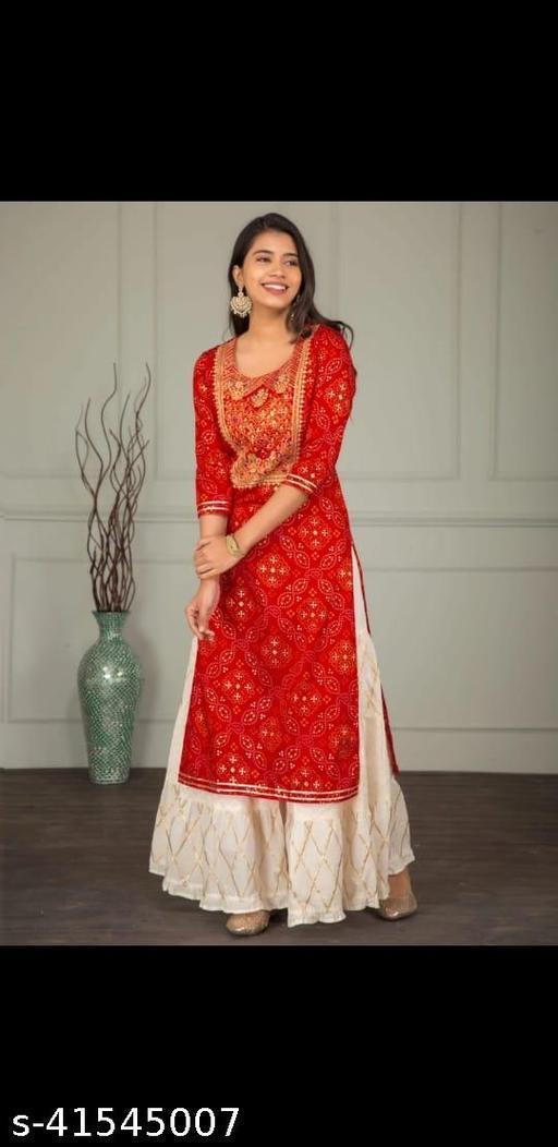 Women Reyon Kurta With Bottom wear Red Colour Set