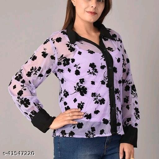 Women Casual Long Sleeves 3D Floral  Shirt, Turn Down Collar