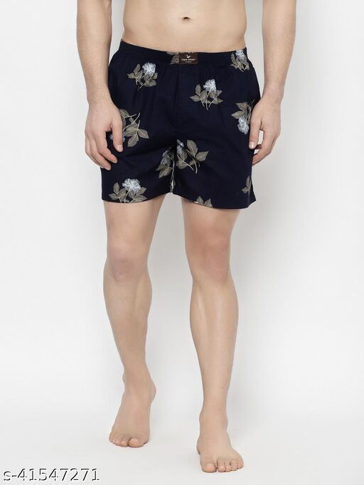 Cape Canary Men's Navy Blue Cotton Elasticated Printed Boxer Short
