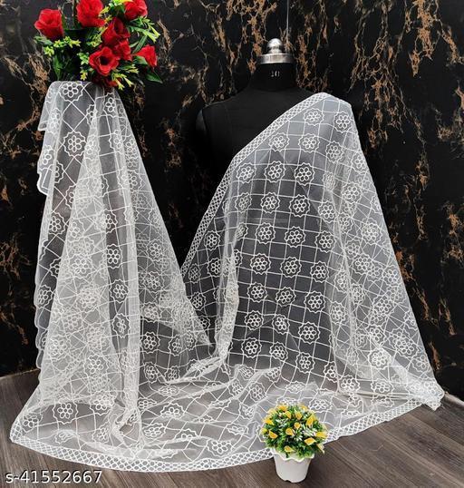 White Mono Naylon net Chainstich work Duppata