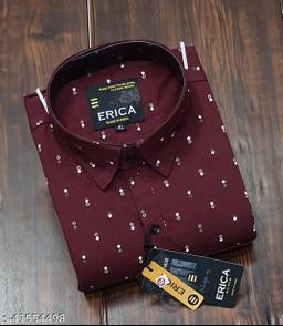 Trendy Premium Cotton Men's Full Sleeve Casual Printed Shirt - MAROON