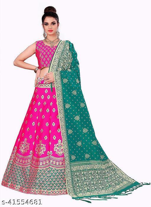 arriva fab Women's Banarasi Jacquard Silk With Jacquard Print Duppata Party Wear Lehenga Choli