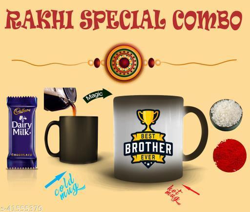 RAKHI SPECIAL COMBO WITH MAGIC MUG AND RAKHI AND CHOCOLATE AND ROLI RICE