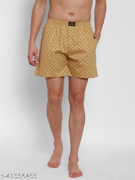 Cape Canary Men's Beige Pure Cotton Printed Boxer Shorts