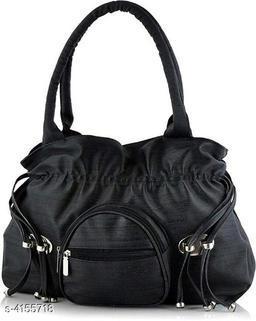 Trendy Women's Black Faux Leather/Leatherette Handbag