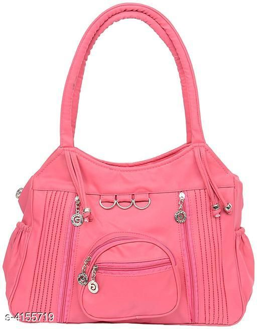 Elegant Women's Pink Faux Leather/Leatherette Handbag