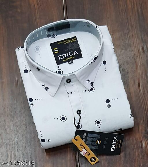 Trendy Premium Cotton Men's Full Sleeve Casual Printed Shirt - WHITE