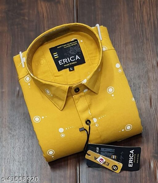 Trendy Premium Cotton Men's Full Sleeve Casual Printed Shirt - MUSTARD