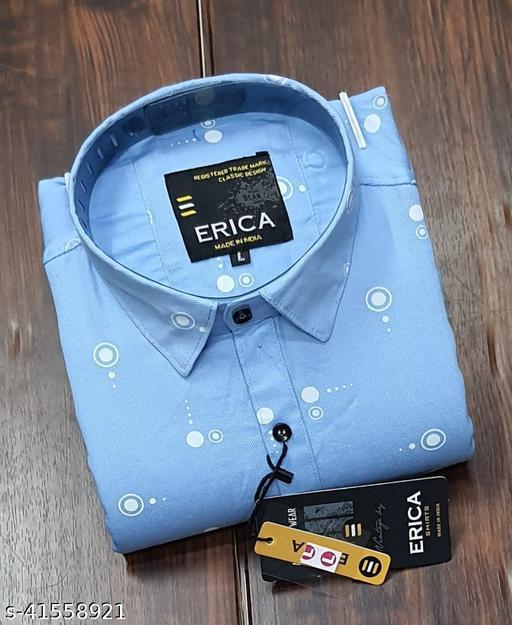 Trendy Premium Cotton Men's Full Sleeve Casual Printed Shirt - SKY BLUE
