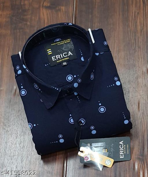 Trendy Premium Cotton Men's Full Sleeve Casual Printed Shirt - NAVY-BLUE