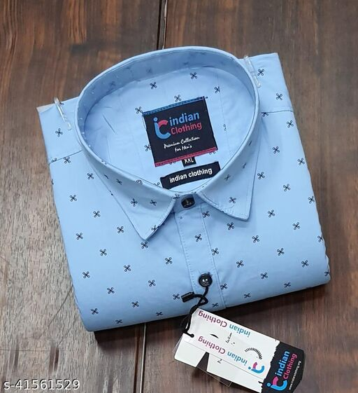 Trendy Premium Cotton Men's Full Sleeve Casual Printed Shirt - SKY-BLUE