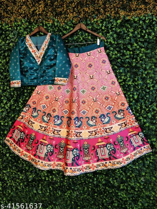 Kaizens Patola Bandhni Style Silk Semistiched Lehenga With Unstiched Full Sleave Blouse