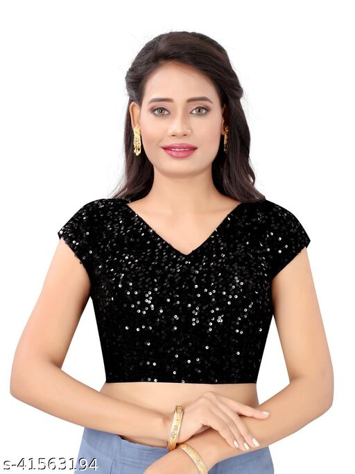 Fashion Lust Black Velvet Free Size Embriodered Sequence Work Stitched Blouse for Women