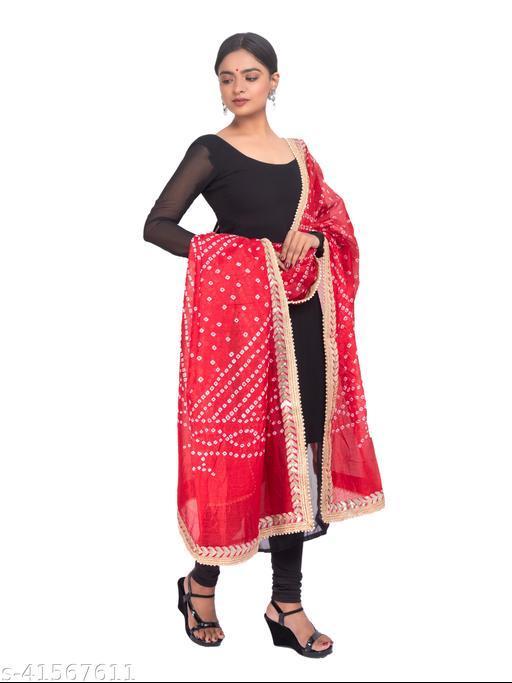 Fabric Jaipur Women Rajasthani Traditional Art SILK Banarasi Hand Bhandej Dupatta