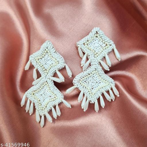 Trinklet White bead studded statement earrings