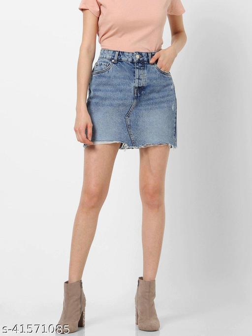 Stylish Blue Denim Skirt for Women