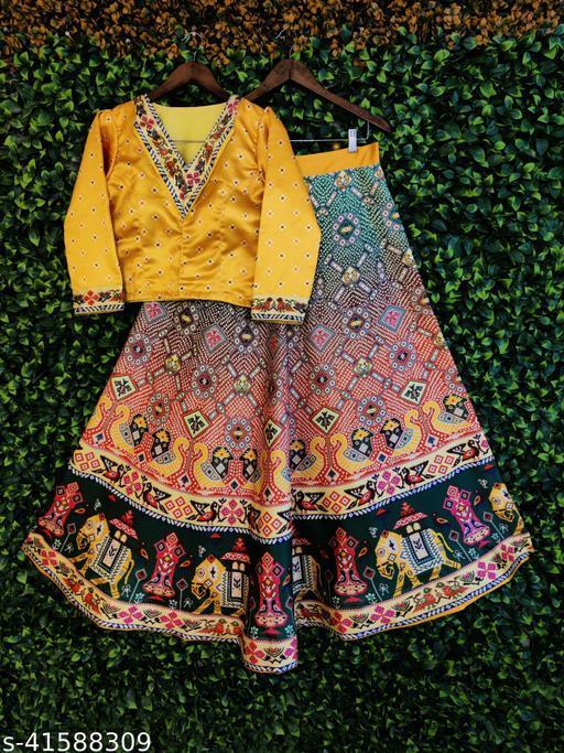 Sixsigma Patola Bandhni Style Silk Semistiched Lehenga With Unstiched Full Sleave Blouse