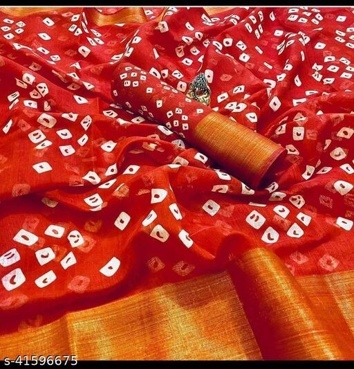 SGSM FANCY BHANDHNI COTTON SAREE 003 2(RED)
