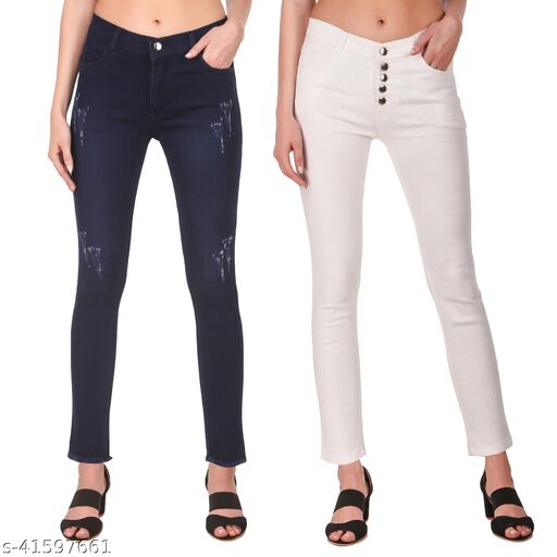 Jac Fashion Women Plain 1 Button Blue Row Freinged & 5 Button White Jeans Combo(Pack of 2)