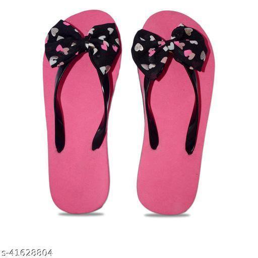 Women's Plain Pink Stylish Casual Bow Flip Flops Slippers