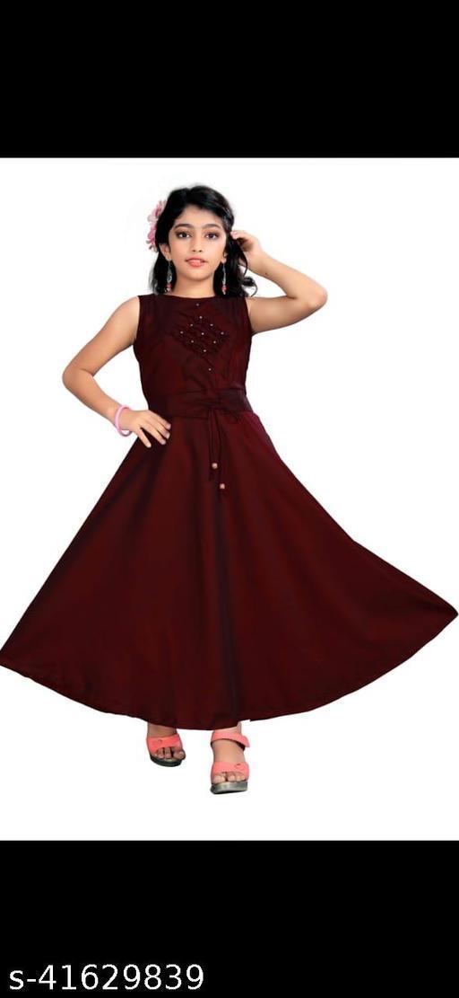 Siya Enterprise Girl's Sleeveless Tie-Up Gown Party Dress