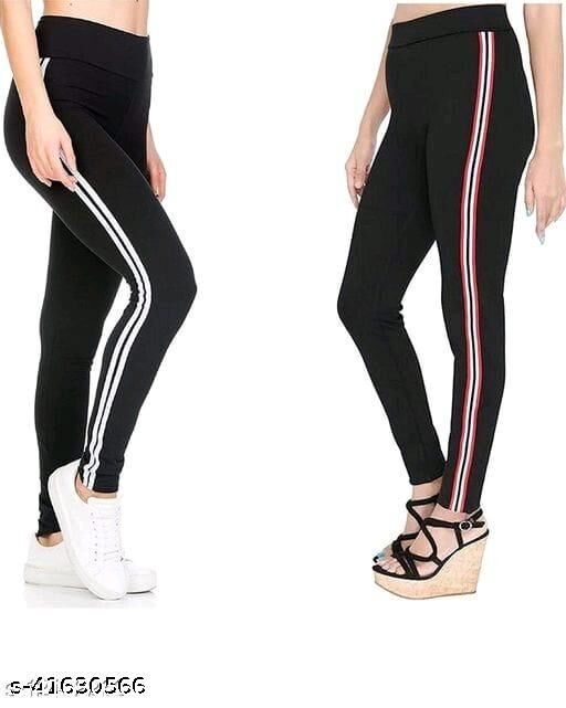 WOMEN'S STRETCHED ANKLE LENGTH SIDE STRIPPED JEGGING_COMBOPACK OF 2