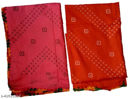 BBQSTYLE Women's Polycotton Printed Dupatta With Lace