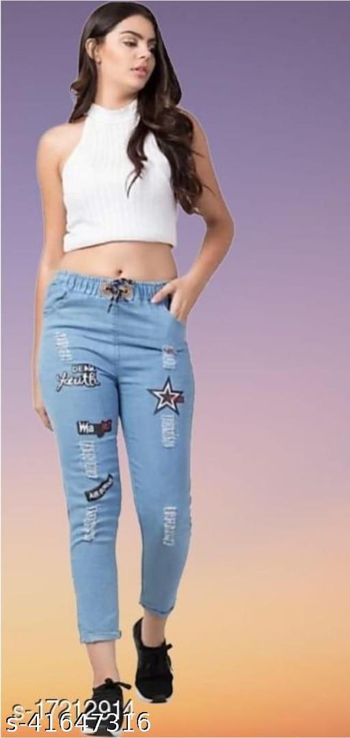Trendy Stylish Joggers Fit Women Black Denim Classy Blue Jeans For Girls