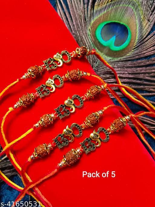 Multicolor Handmade Combo Of 5 Ganesh Rudraksha Rakhi Set For Men