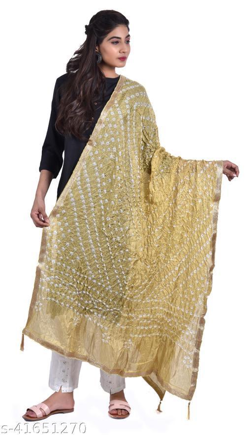 Women Designer Glitter Bandhej Silk Dupatta (Creamy Grey)