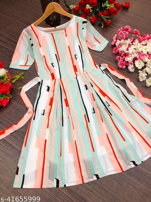 Women Trendy Onepiece Midi Dres With Amazing Desgine And Colour Combination.