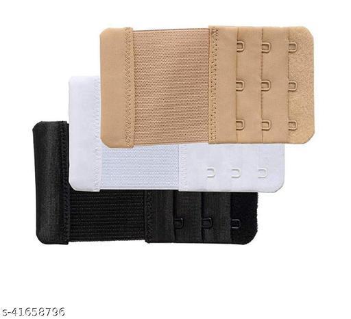 StyFun Womens Bra Extenders Soft Elastic Bra Extension Strap Adjustable combo pack, Black White Beige, Bra Hooks Extender 3 Hook 3 Eye Pack of 3